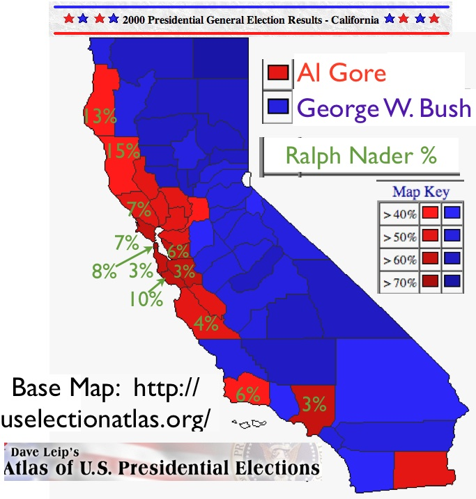 Political Complexities And Contradictions In Californias - Us presidential map 2000