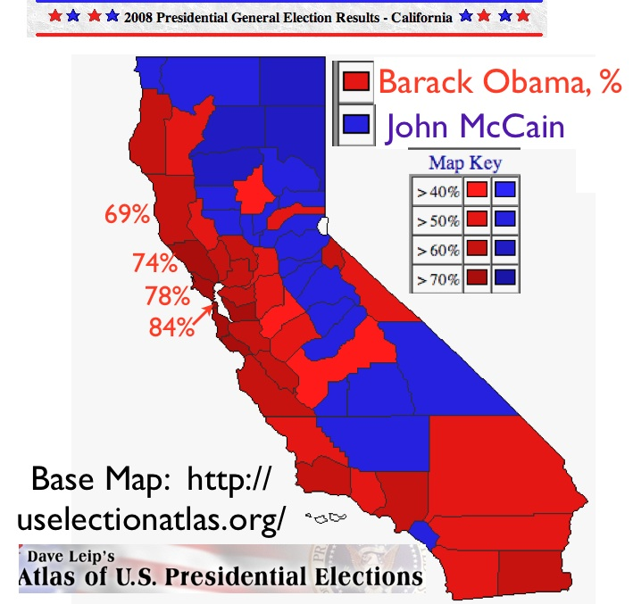 California 2008 Election Map From Dave Leip S Atlas