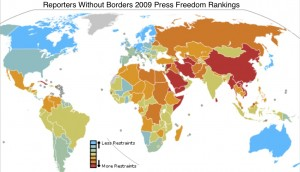 Wikipedia Map of Reporters Without Borders Press Freedom Ranking