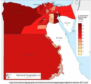 Al_Nour Vote Map in Egypt from Electoral Politics
