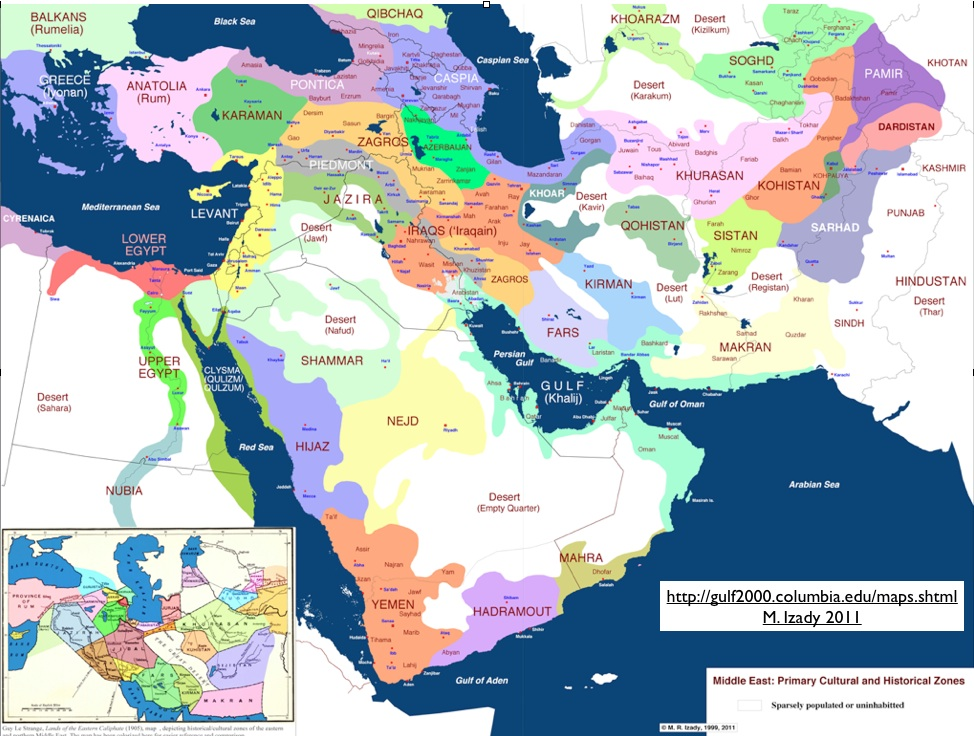 More great maps from m izady at gulf 2000 geocurrents middle east cultural historical regions map by m izady gumiabroncs Choice Image