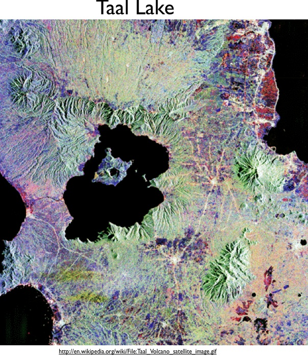 Lakes on Islands in Lakes Toba and Taal in Indonesia and the