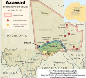 Azawad, languages, map