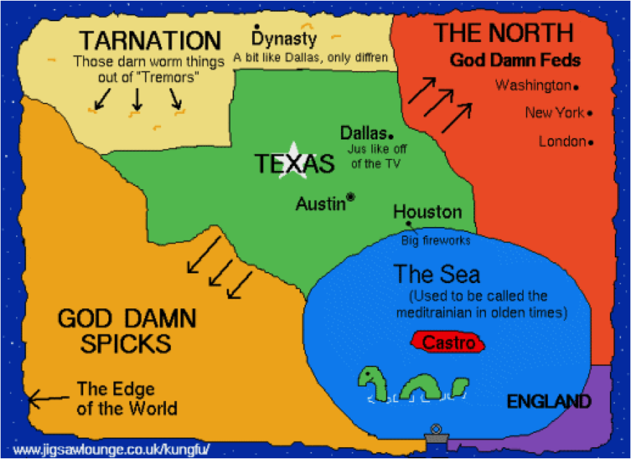 Map Of Texas Please.The World According To Canada And Texas