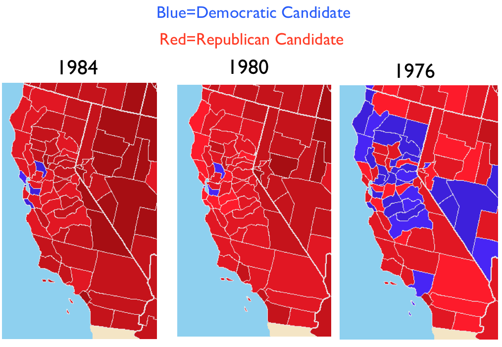 The Republican Postmodern Turn Silicon Valley And Californias - Us political map by county