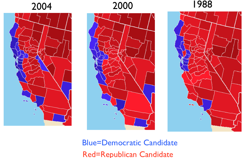 The Republican Postmodern Turn Silicon Valley And Californias - Us voting map by county 2016