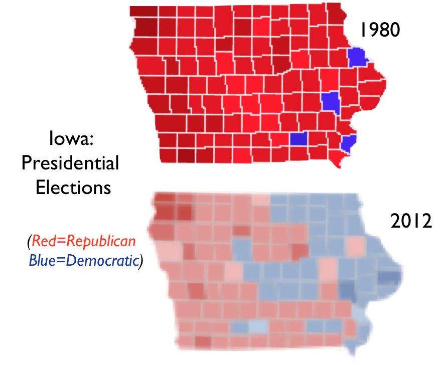 Iowa Minnesota And The Anomalous Zone On The US Electoral Map - Map of county votes for us election