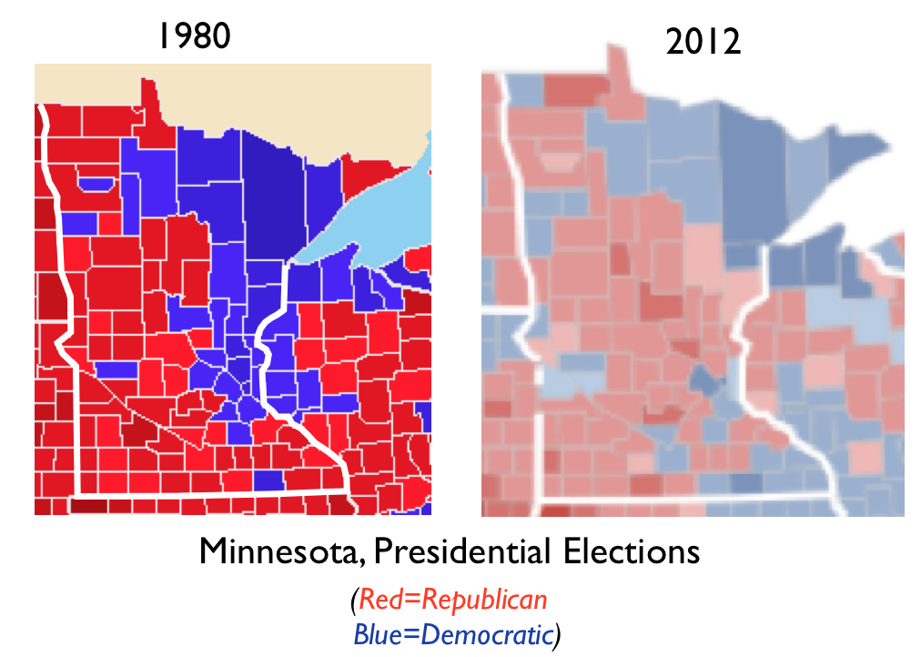 Iowa Minnesota And The Anomalous Zone On The US Electoral Map - Map of most democratic counties in us