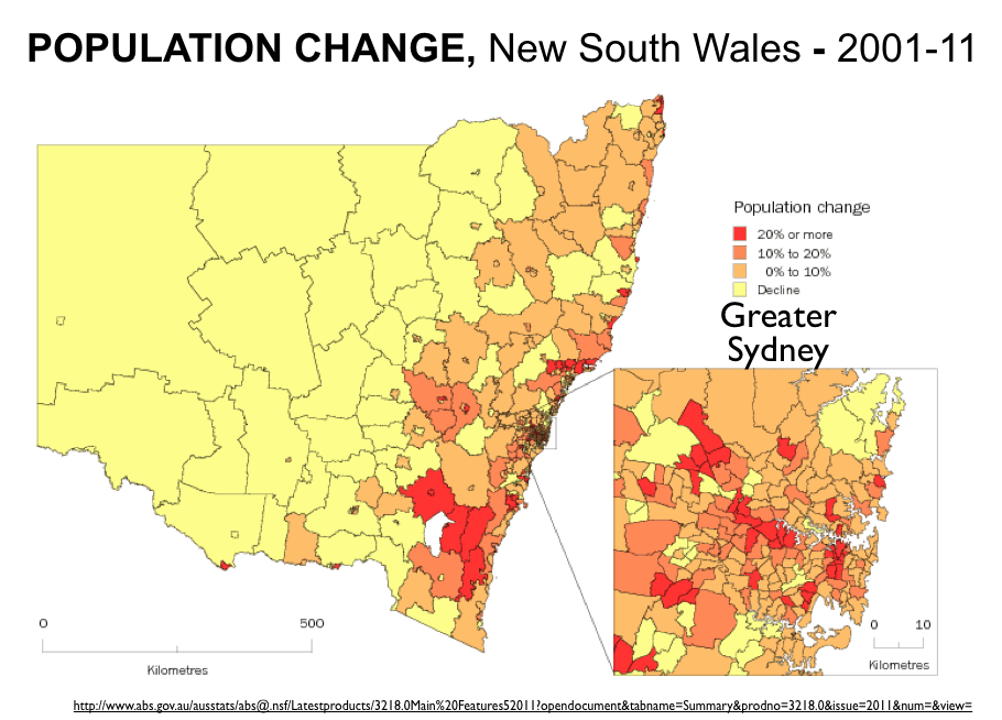 Australias Empty Countrysideand The MelbourneSydney Rivalry - Australia population density map 2015