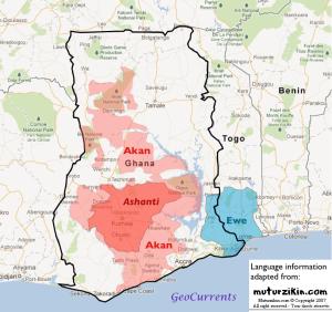 Ghana Ashanti Ewe map