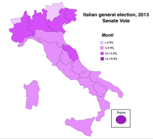 Italy 2013 election Monti Vote Map