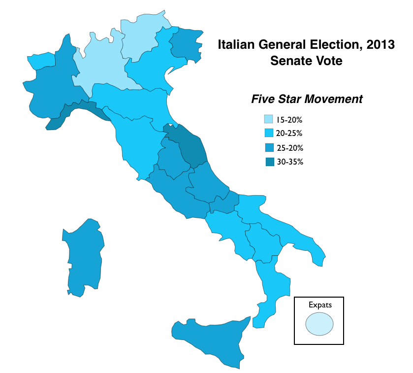 Clear Map Of Italy.Changing Italian Voting Patterns