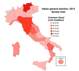 taly 2013 election Left Coalition Vote Map
