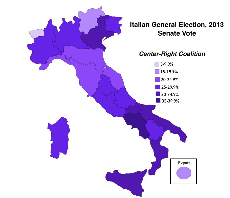 Italian General Election 2013 Senate Vote Center Right Coalition