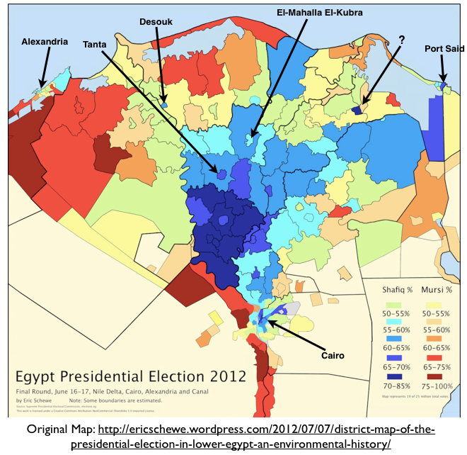 The CorePeriphery Pattern In Egyptian Electoral Geography - Map of egypt nile delta