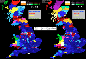 Britain 1979 1987 election maps