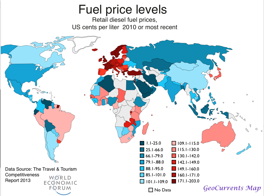 Egypt and the World Diesel Price Map | GeoCurrents