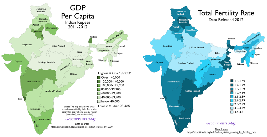 Gdp Per Capita Vs Total Fertility Rate 2012