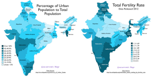 India Urbanization Fertility Map