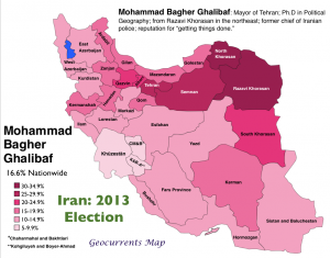 Iran 2013 Election Ghalibaf Map