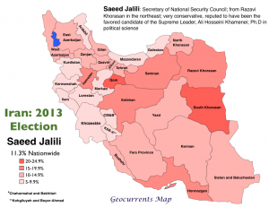 Iran 2013 Election Jalili Map