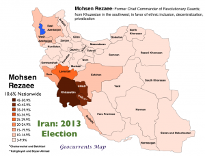 Iran 2013 Election Rezaee Map