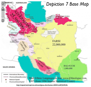 Main Ethnic Languages in Iran Map