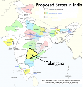 Telangana & Proposed States of India Map