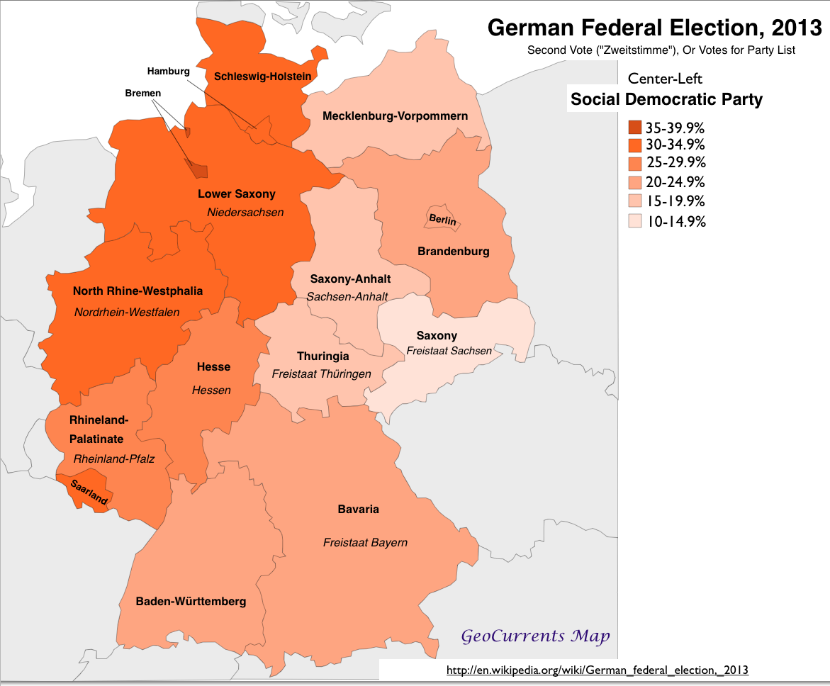 Geographical Patterns in the German Federal Election of 2013 – Map of German Regions