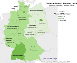 Germany Election 2013 Green Vote Map