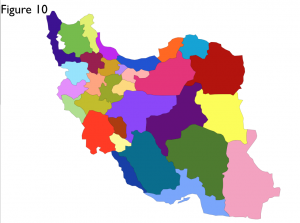 Iran Provinces Colors Map
