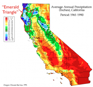 California Precipitation Emerald Triangle Map