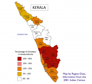 Christianity in Kerala Map
