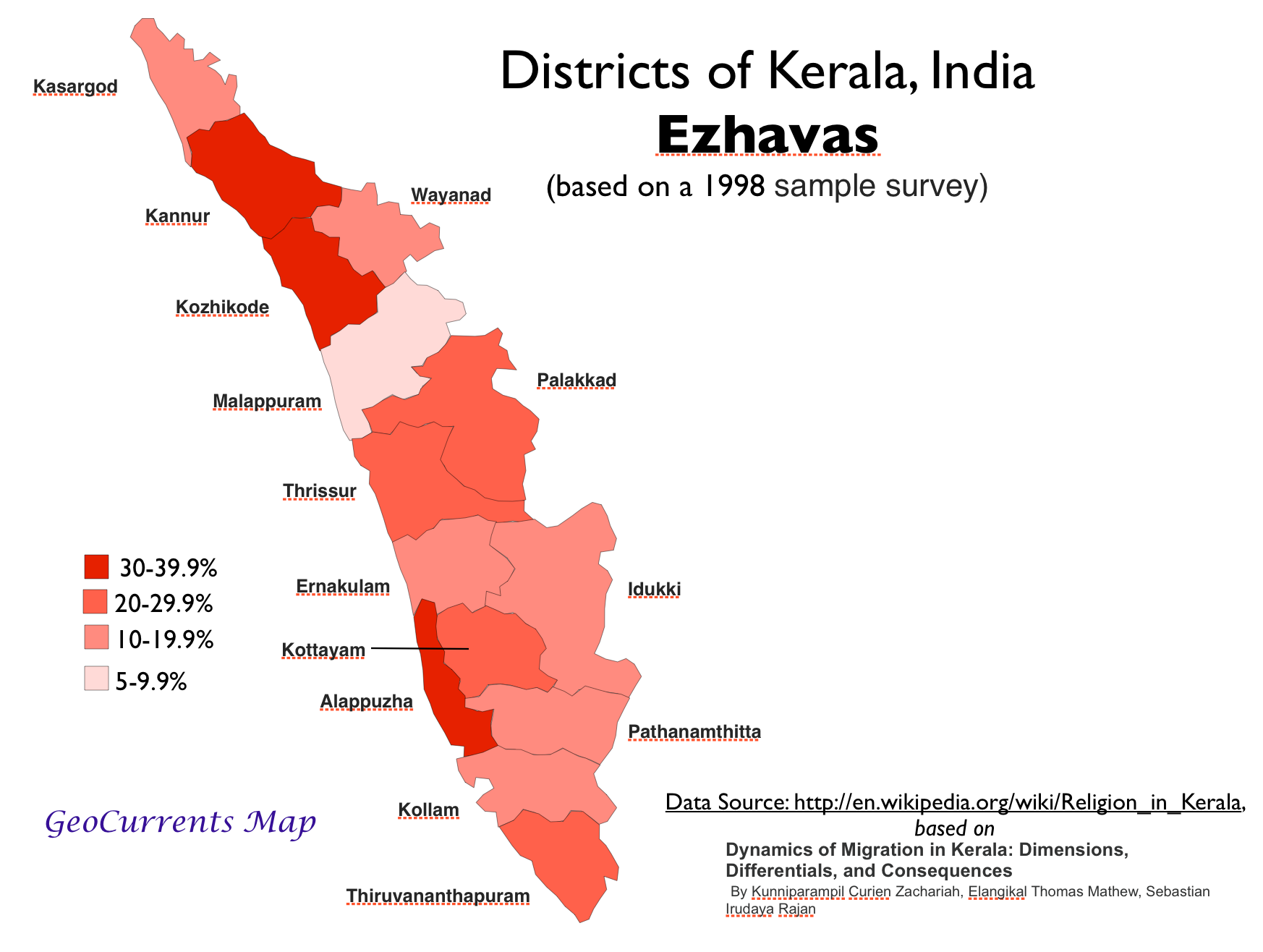 Ezhavas Population Kerala Map