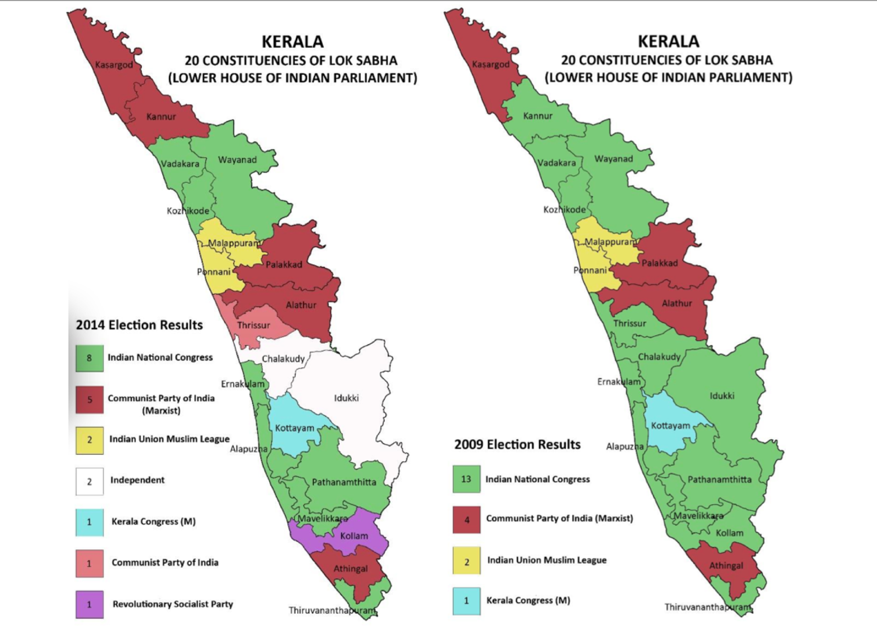 Kerala 2014 2019 elections map