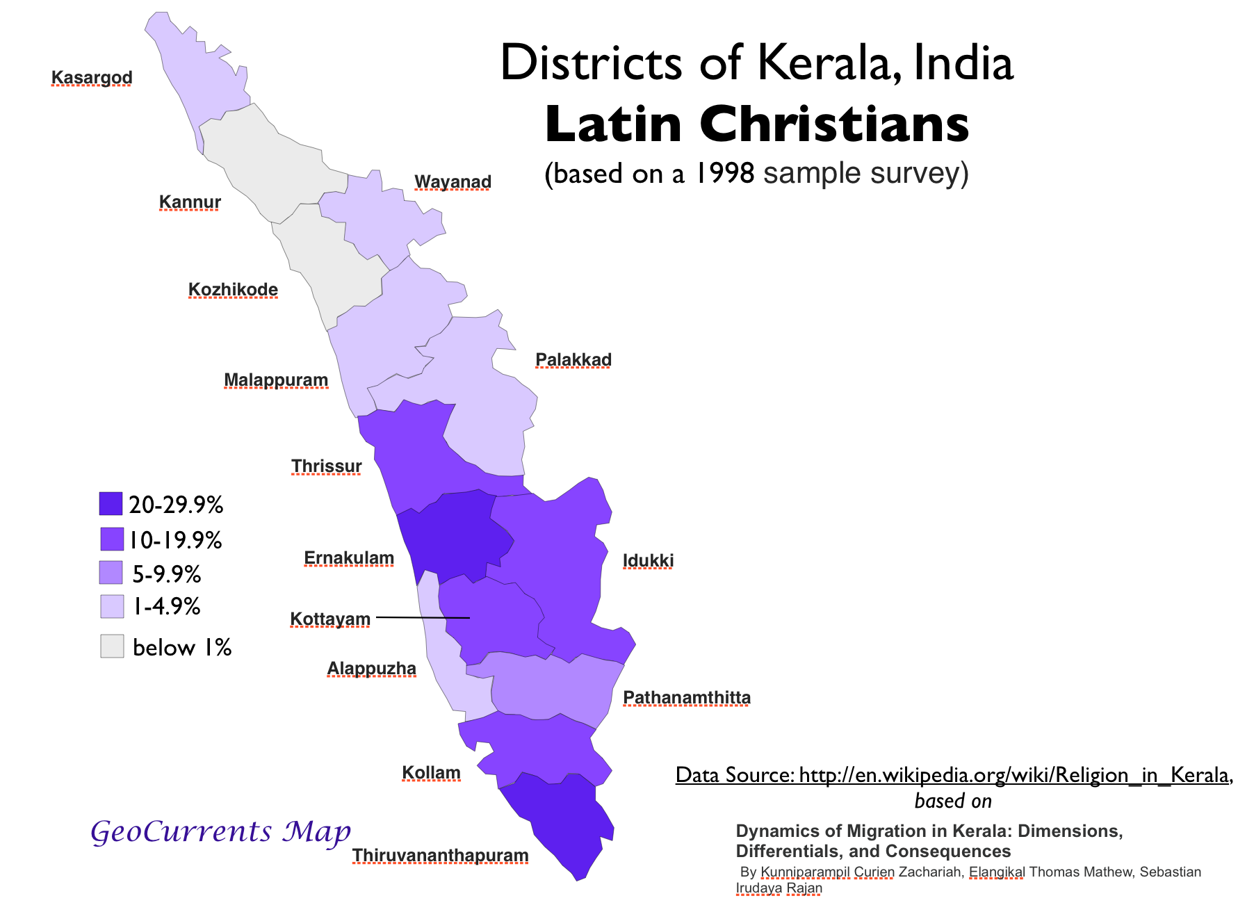 Latin Christian Population Kerala Map