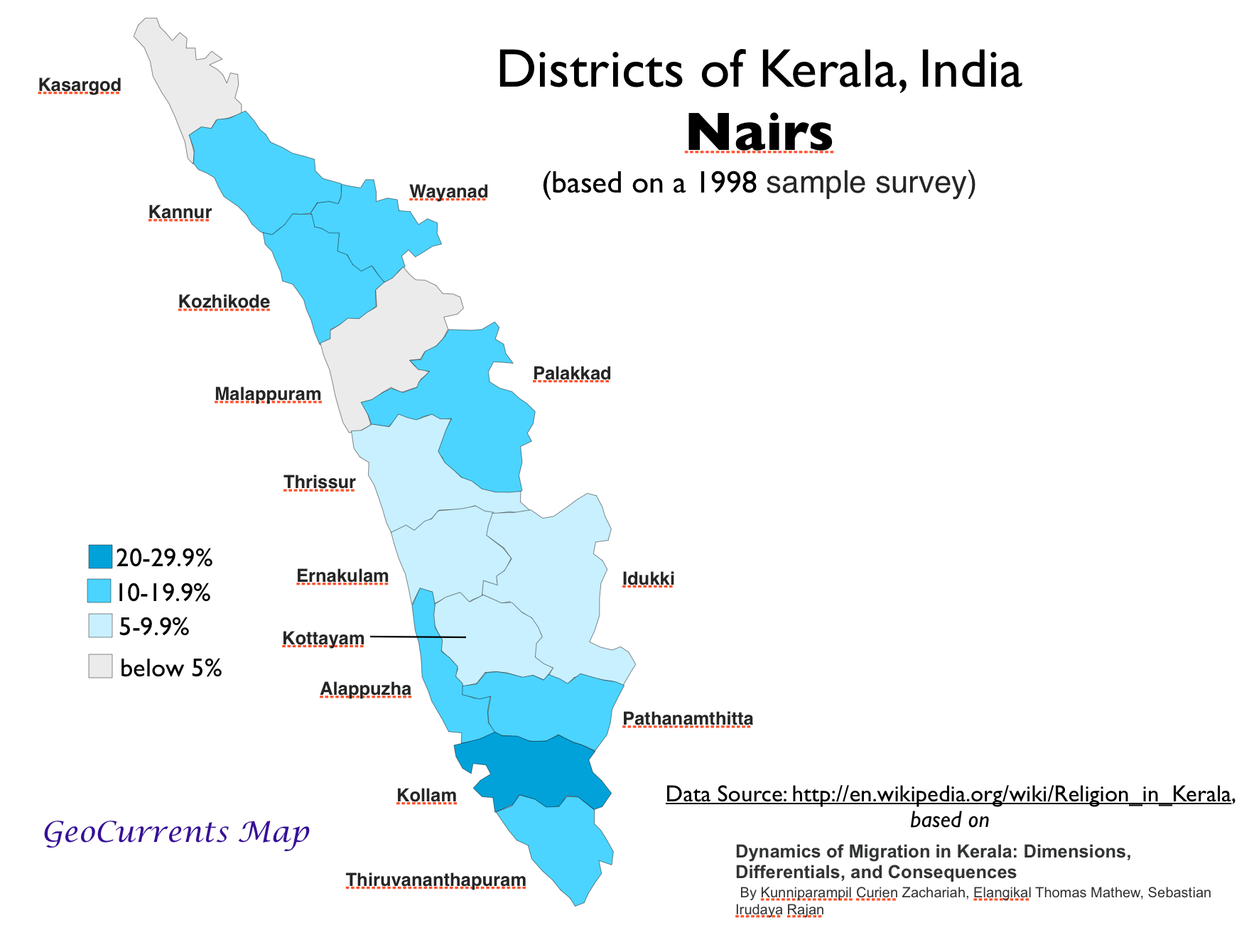 Nair Population Kerala Map