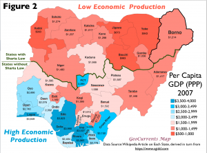 Nigeria per capita GDP map