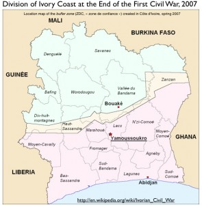 Map of the Division of Ivory Coast in 2007