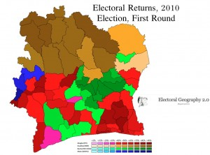 Map of the Ivory Coast Election, Round 1