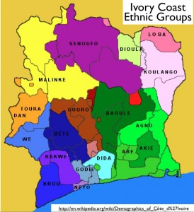 Wikipedia map of ethnic groups in Ivory Coast