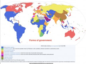 Wikipedia map of forms of government