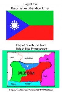 Balochistan flag and map of proclaimed country