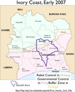Map of the Ivory Coast Civil War