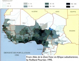 Map of population density in West Africa, 1990