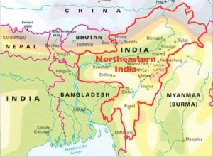 Map of Northeastern India