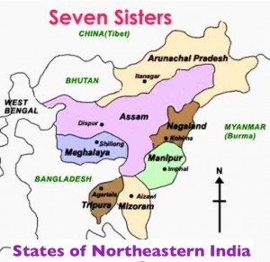 Map of the states on northeastern India