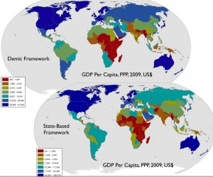 Maps of Global GDP (PPP), Demic and State-Based Frameworks