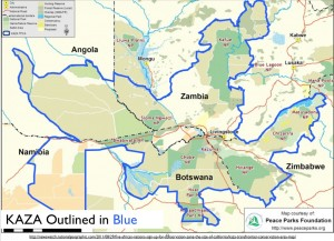 Map of Kavango Zambezi Transfrontier Conservation Area