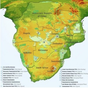 Map of Southern African Peace Parks